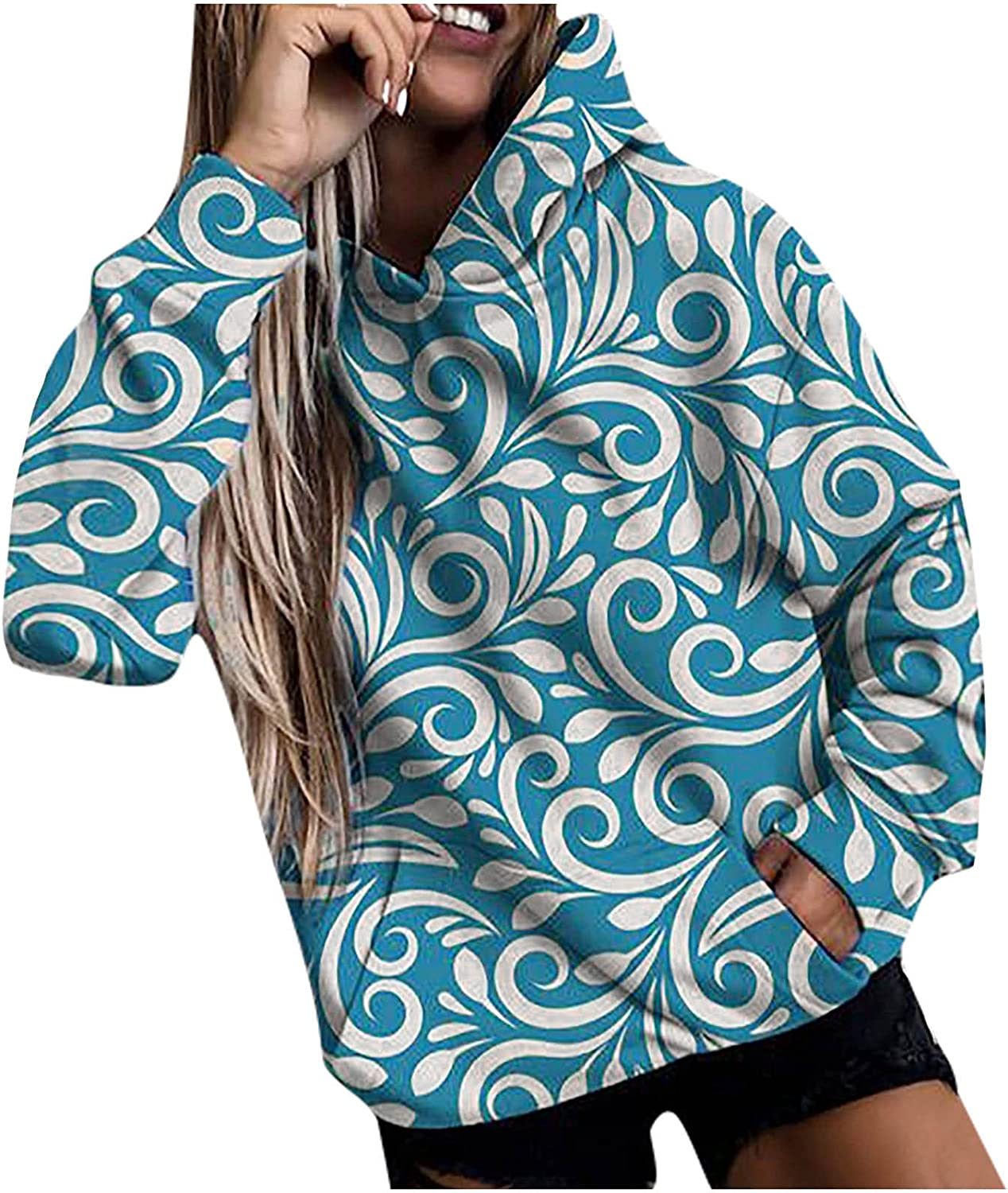 Hoodies for Women Pullover Graphic Floral Print Sweatshirt Casual Long Sleeve Pocket Shirt Fall All-Match Tops