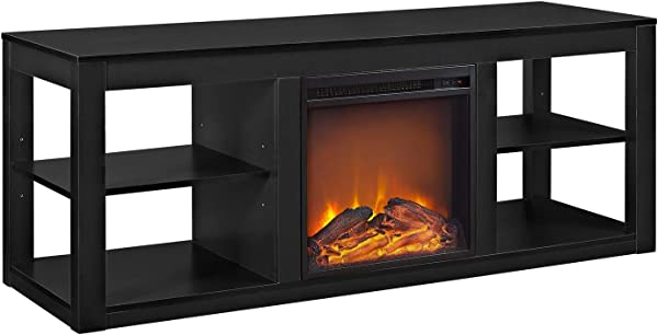 Ameriwood Home Parsons Electric Fireplace TV Stand For TVs Up To 65 Black