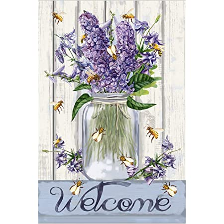 Morigins Bees And Flowers Mason Jar 28 X 40 Inch Decorative Welcome Spring Summer Double Sided House Flag Garden Outdoor