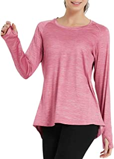 Workout Long Sleeve Thumb Shirts for Womens with Hole Running Tops T-Shirts Gym Yoga Sports Active Wear Pullover
