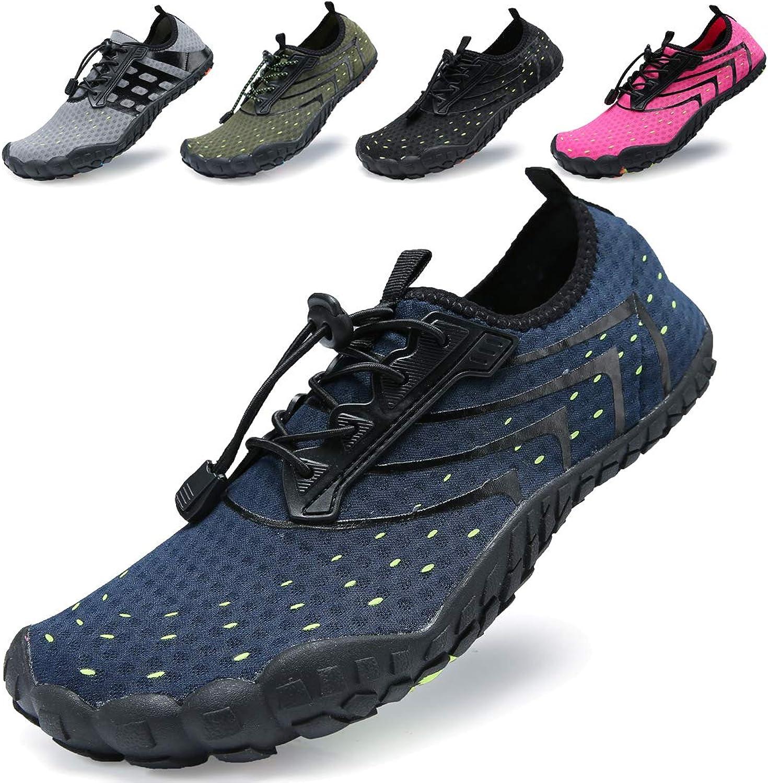 KRIMUS Men Women Water shoes Quick Dry Barefoot Aqua Socks Swim shoes for Pool Beach Walking Running (Deep bluee-1-42)