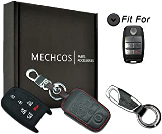 MECHCOS Compatible with fit for 2015 2016 2017 2018 Kia Sedona 6 Buttons Leather Case Smart Key Fob Cover Keyless Remote Holder Protecter, Bonus: Silicone Rubber Case & Key Ring