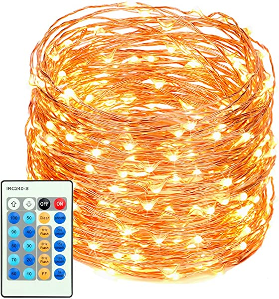 LED String Lights With Remote Control 99ft With 300 Leds Dimmable Fairy String Lights For Bedroom Patio Indoor Outdoor Waterproof Copper Lights For Birthday Wedding Party UL Certificate Warm White
