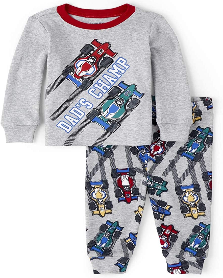 The Children's Place Boys' Baby and Toddler Race Car Snug Fit Cotton Pajamas