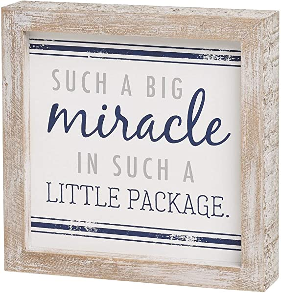 Collins Painting Distressed Wood Framed Block Sign For Children S Decor Big Miracle Little Package
