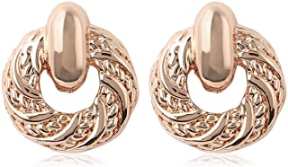 Estele Rose Gold Plated Round Shaped Brass Studs Earrings for Women