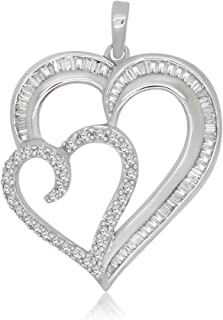 omega jewellery 0.54 Cttw Round & Baguette White Natural Diamond 925 Sterling Silver Double Heart Pendant