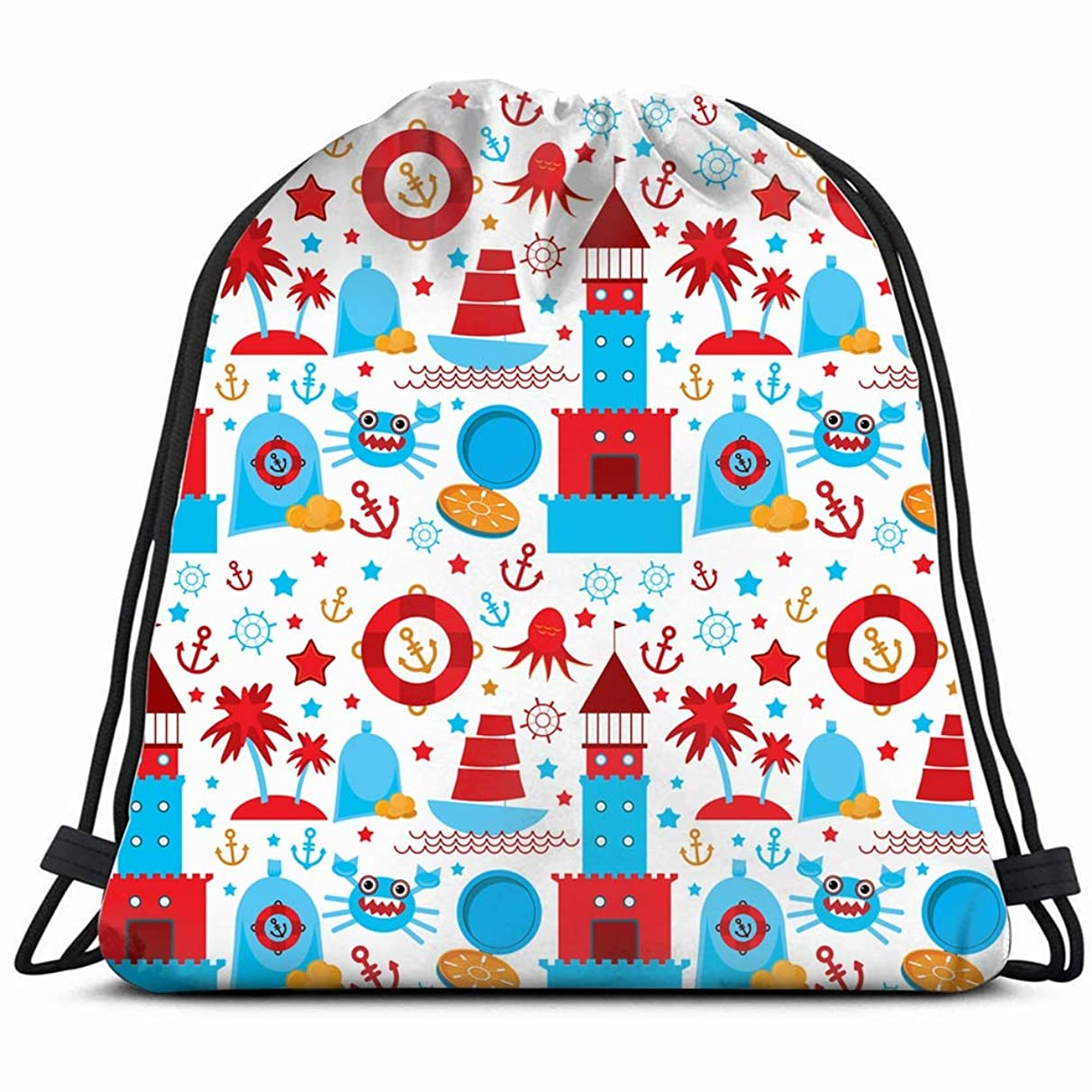 sea icons on white vintage Drawstring Backpack Gym Sack Lightweight Bag Water Resistant Gym Backpack for Women&Men for Sports,Travelling,Hiking,Camping,Shopping Yoga