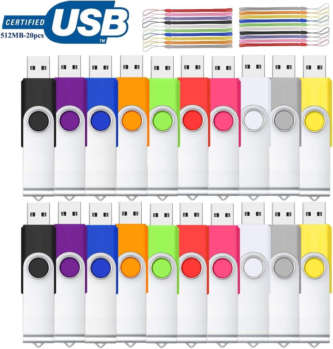 Viewfun 512M 20 Piezas Memoria USB Pendrive USB 2.0 Giratoria 360° para Almacenamiento Datos con Cordones (512M, Multicolor*20)