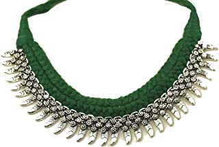 Tripti Indian Hand Braided Thread Oxidized Rajasthani Vintage Tribal Ethnic Bollywood Silver Adjustable Choker Necklace for Women and Girls