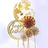 RESTARDS Happy Birthday Cake Topper Acrylic Cupcake Topper