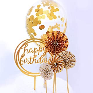 RESTARDS Happy Birthday Cake Topper Acrylic Cupcake Topper, A Series of Gold Paper Fans Confetti Balloon Birthday Cake Supplies Decorations