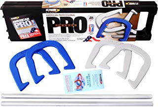 St. Pierre American Professional Series Horseshoes Complete Set: Includes 4 Horseshoes, 24-inch Solid Steel Stakes, Official Rulebook, and Black Plastic Tote (Renewed)