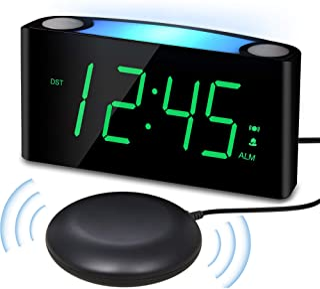 ساعت زنگ دار لرزاننده با شیکر تختخواب برای کودکان بزرگسال ناشنوا و دارای خواب بزرگ ، صفحه نمایش LED با تعداد زیاد با کم نور   چراغ شب   شارژر تلفن USB   12 / 24H ، ساعت مسافرتی میز اتاق خواب دیجیتال با تنظیم آسان