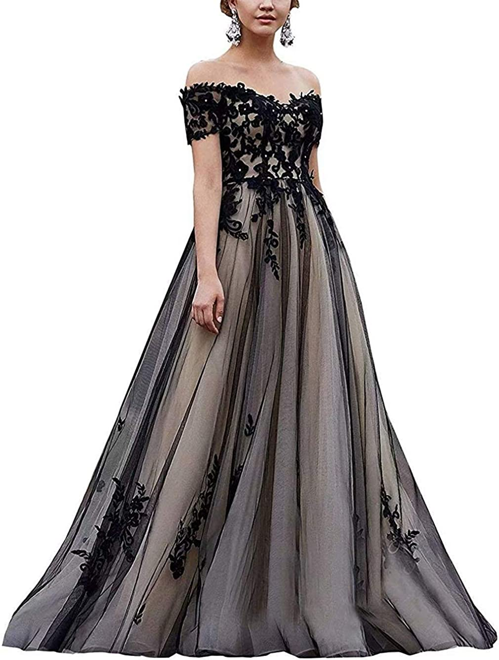 Melisa Off The Shoulder Long Wedding Dresses for Bride with Train Lace Applique Sweetheart Bridal Ball Gowns