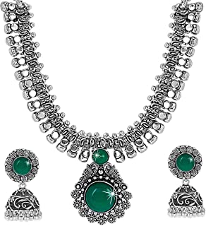 Yellow Chimes Oxidized Silver Kolhapuri Necklace Set With Jhumka Earrings Jewellery Set for Women (Oxidized Silver, Green)...