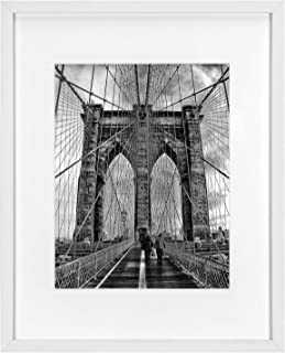 ONE WALL Tempered Glass 16x20 Poster Frame, White Wood Picture Frame with Mat for 11x14 Photo for Wall - Mounting Hardware Included