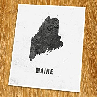 Maine Map Print (Unframed), Modern Map Art, Cafe, Industrial, Loft, Black and White, 8x10