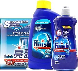 Finish 亮碟 洗碗機專用洗滌增效劑組合(洗滌粉劑1kg+專用鹽2kg+漂洗劑500ml)(進口)