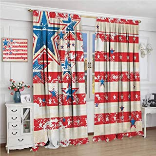 American Flag USA National Star Figures Horizontal Stripes Pride Grunge Design Image Decor Curtains Vermilion Blue Blackout Window Treatment W84Xl72