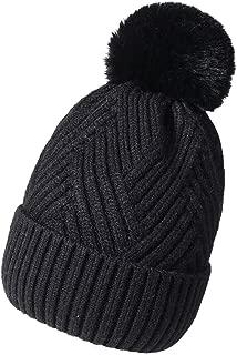QNLYCZY Womens Winter Beanie Hat,Wool Knit Cap Cashmere Warm Lined Ski Cap Pom Pom