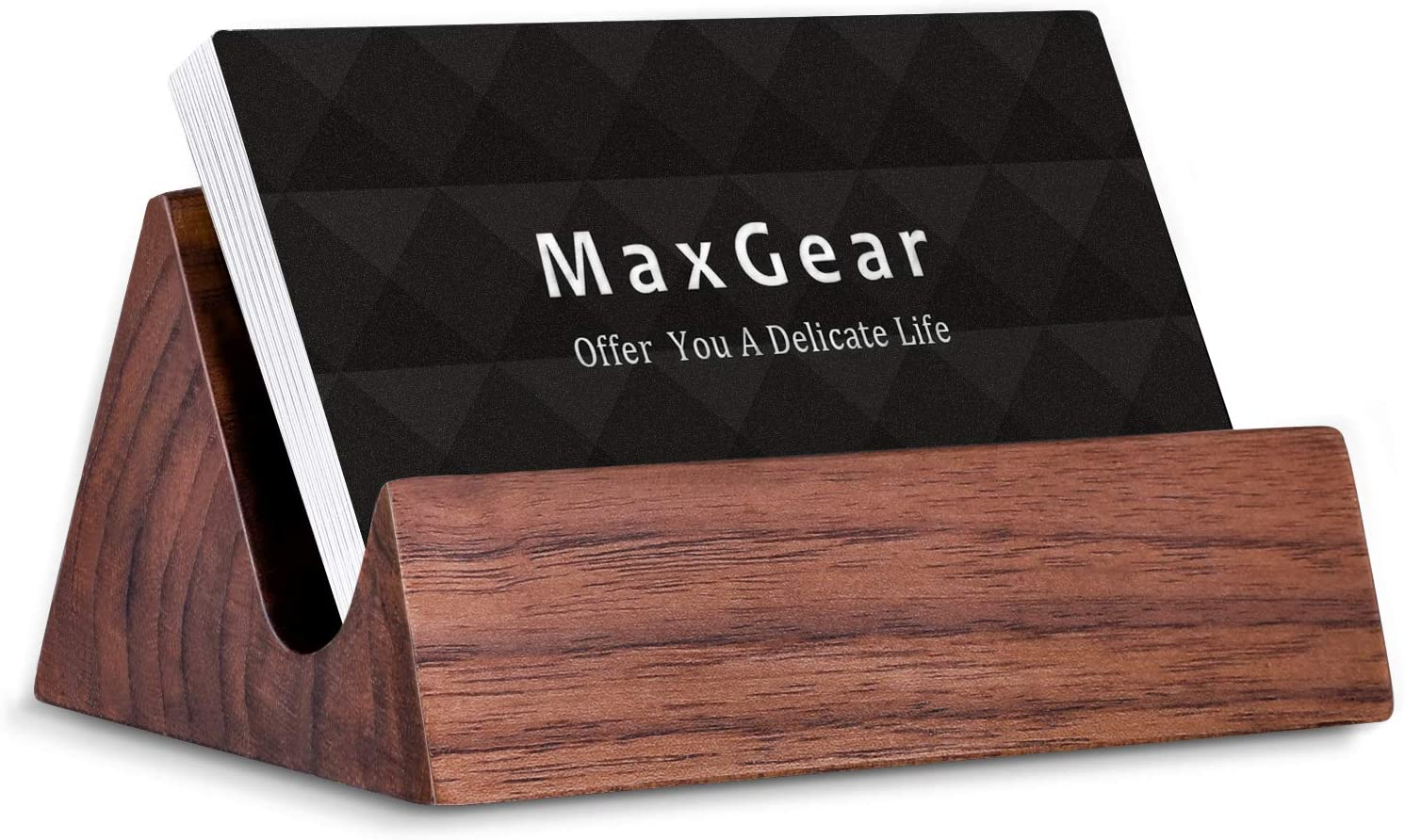 MaxGear Wood Business Card Holder Desk Business Card Holder Stand Wooden  Business Card Display Holders for Desktop Business Cards Stand for Office  and ...