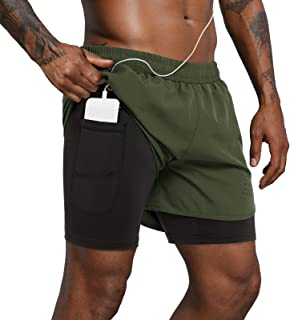 Lulucleaf Men's 2 in 1 Workout Running Shorts 5 Inch Lightweight Training Yoga Gym Short with Phone Pocket