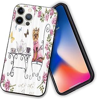 Yorkies Compatibel met nieuwe iPhone 12 Series 2020 Case, Yorkshire Terrier in Roze Jurk Met een Tea Party Tea Time Vlinde...