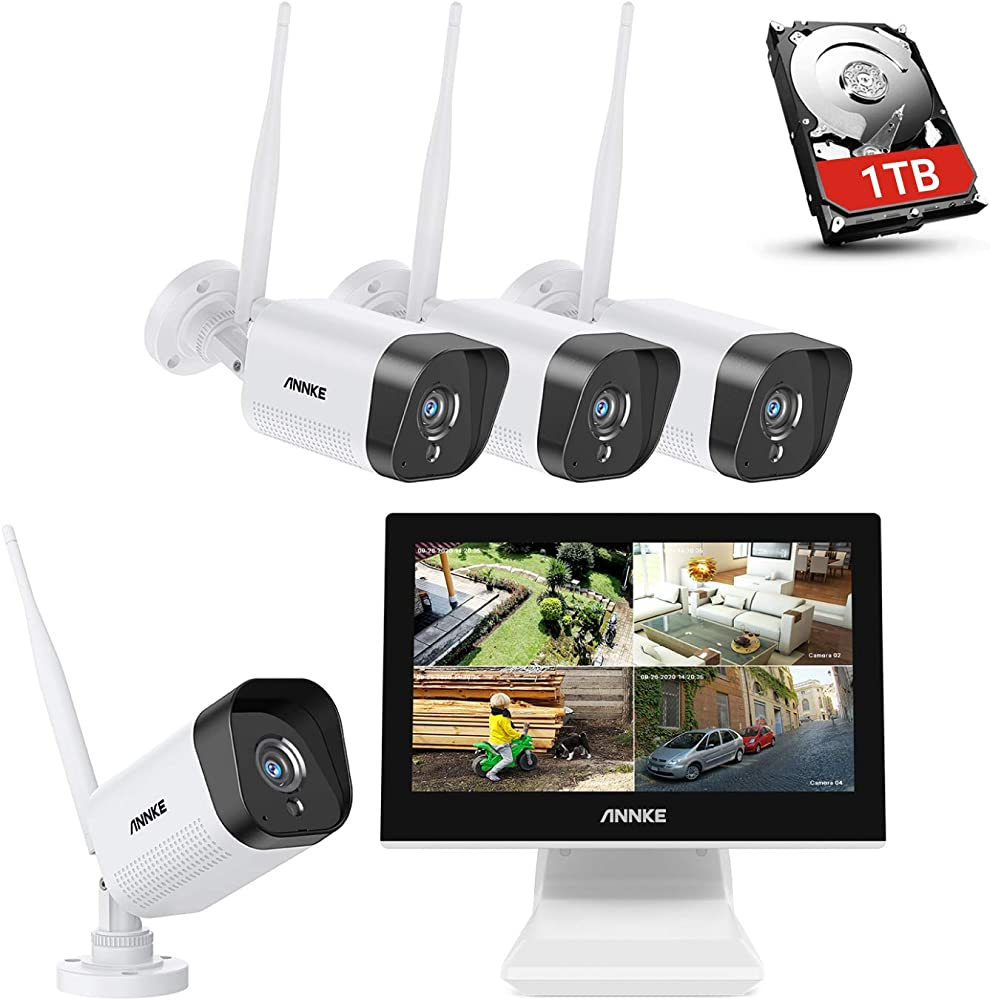 Annke we400 4ch kit di sorveglianza videosorveglianza wifi con monitor lcd da 10,1`` AE-N34WDBA1-34DB#IT5