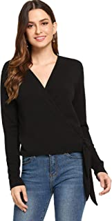 Women's Casual Long Sleeve V Neck Shirt Wrap Knot Blouse Top