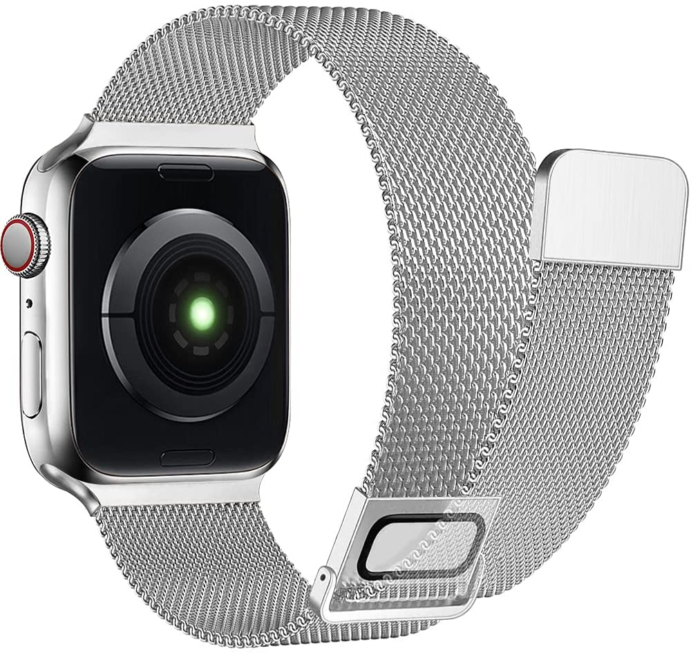 AdMaster Stainless Steel Magnetic Band Compatible with Apple Watch 42mm 44mm 45mm, Adjustable Milanese Magnet Metal Mesh Clasp Strap Men Women for iWatch Series 7/6/5/4/3/2/1 SE 42/44/45 mm Silver