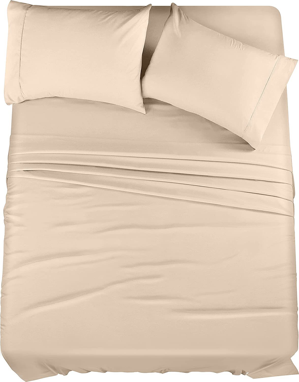 Utopia Bedding Bed Sheet Set - Brushed Microfiber 4 Piece Cal King Bedding - Shrinkage & Fade Resistant - Soft Sheets - Easy Care (Cal King, Beige)