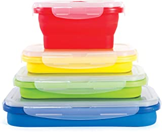 Kitchen + Home Thin Bins Collapsible Containers – Set of 4 Rectangle Silicone Food Storage Containers – BPA Free, Microwav...