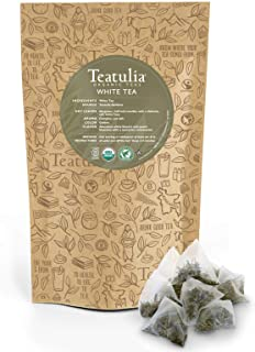 Teatulia Organic White Tea 50ct Premium Pyramid Tea Bags - Brew Hot or Cold Compostable Corn-Silk Bags