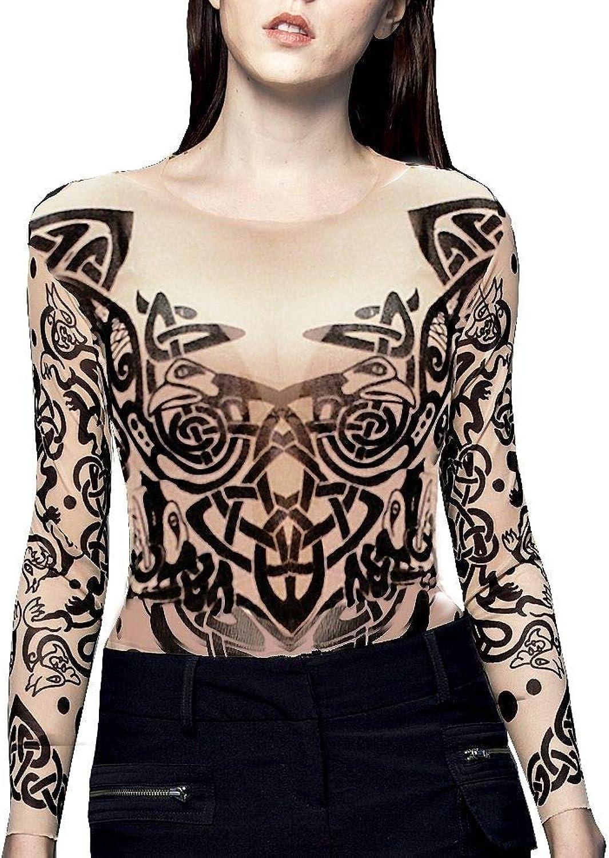 Wild pink Women's TRIBAL Tattoo Mesh Shirt