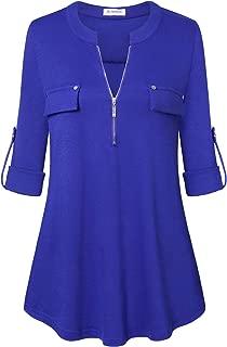 Bulotus Women's Zip Front V-Neck 3/4 Sleeve Tunic Casual Top