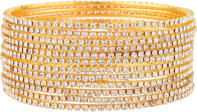 Efulgenz Indian Bangle Rhinestone CZ Crystal Wedding Bridal Bracelet Jewelry for Women