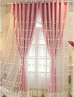 Didihou Embroidered Voile Mix Match Blackout Curtain Double Layer Darkening Thermal Insulated Window Treatment Grommet Drapes for Living Room Girls Bedroom, 1 Panel (52W x 84L Inch, Pink)