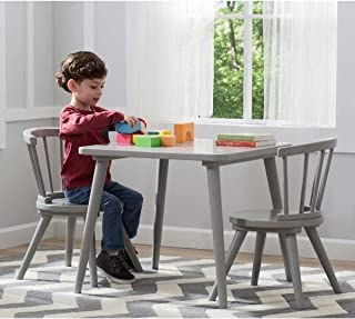Caden Strong and Sturdy Easy to Assemble Activity Table and Chair Set in Grey, Features Spacious Square Tabletop and Two Coordinating Chairs