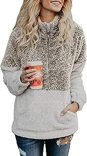 Vansha Womens Faux Shearling 1/4 Zip Pullover Cozy Sherpa Jacket Long Sleeve Fuzzy Fleece Sweatshirt Outwear Coat