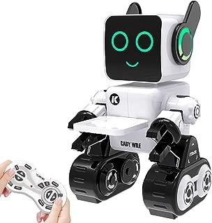 子供のためのリモートコントロールおもちゃロボット タッチ&サウンドコントロール 会話 ダンス 音楽演奏 プログラマブル 充電式RCロボットキット ライトアップの目と口 内蔵の貯金箱 男の子 女の子誕生日プレゼント4歳 5歳 6歳 7歳 8歳 9歳 10歳 11歳 (ホワイト)