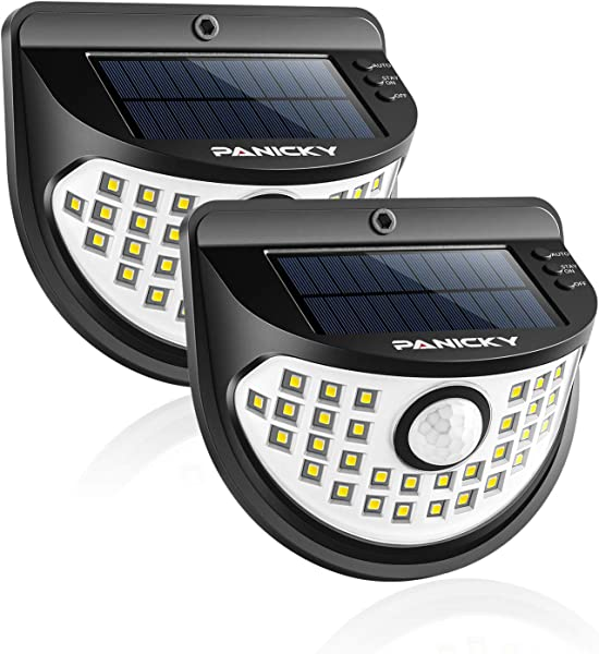 PANICKY Solar Motion Sensor Stay On Light Outdoor 2 Pack 800LM IP67 Waterproof 32 LED Night Light With 270 Wide Angle Easy To Install Solar Powered Security Lights For Door Pathway Garage Garden