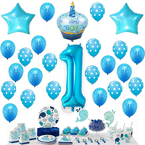 KATCHON 1st Birthday BOY Balloons Set