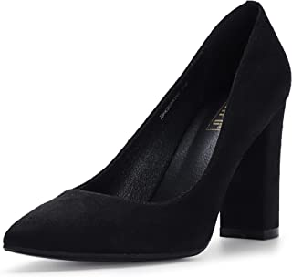 Women's IN4 Chunky-HI Classic Closed Pointed Toe Pumps High Chunky Block Heels Dress Office Shoes