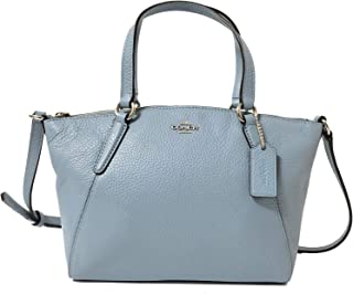 Coach Pebble Leather Mini Kelsey Satchel Crossbody Handbag (SV/Cornflower)