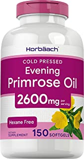 Evening Primrose Oil Capsules 2600mg | 150 Softgels | Hexane Free Pills | Cold Pressed Supplement with GLA | Non-GMO, Glut...