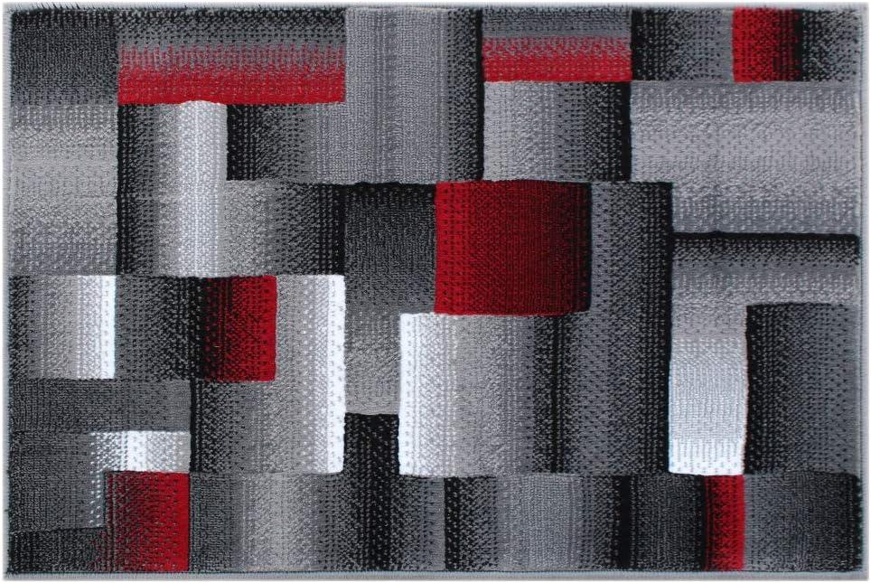 San Francisco Mall Masada Rugs Modern Miami Mall Contemporary Mat Area Rug Black 2 Grey Red