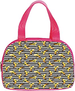 Multiple Picture Printing Small Handbag Pink,Indie,Pattern with Horizontal Stripes and Banana Tropical Fruits Exotic Tasty Food Decorative,Black White Yellow,for Girls,Comfortable Design.6.3