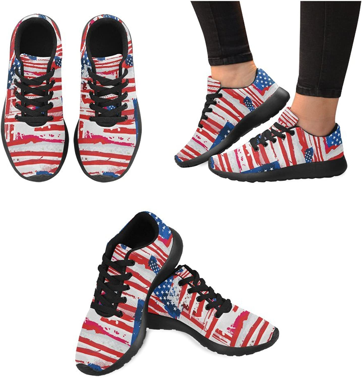 InterestPrint Graphic USA Flag Pattern Print on Women's Running shoes Casual Lightweight Athletic Sneakers US Size 6-15