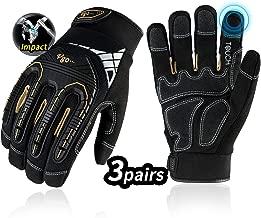 Vgo 3Pairs High Dexterity Heavy Duty Mechanic Glove, Rigger Glove, Anti-vibration,..